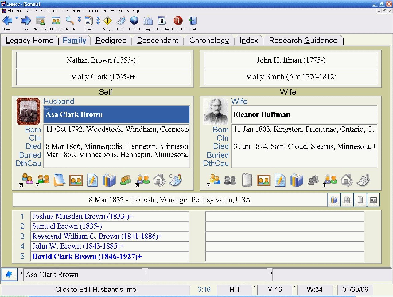 Millennia Corporation The developers of Legacy Family Tree. Learn all about Legacy Family Tree -- The most comprehensive and easy-to-use genealogy/family history software ever.