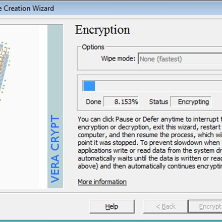 VeraCrypt on the fly encrypting the system partition.