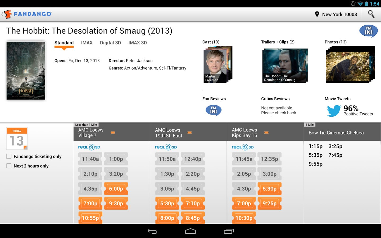 Fandango app updated with new design new rating system and more - Android Tablet