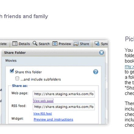 Share bookmarks with friends and family