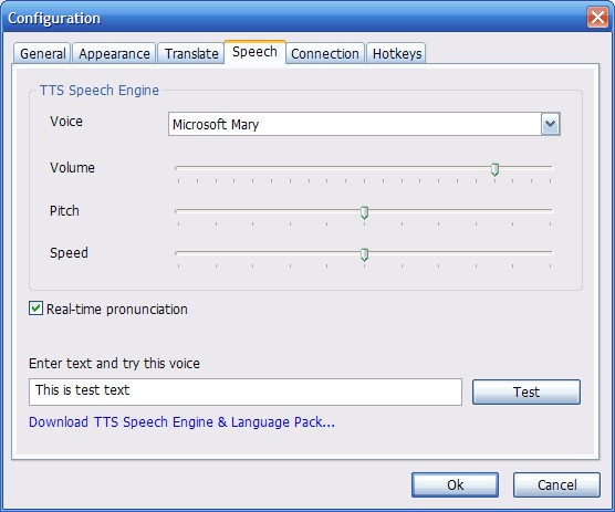 Configuration speech you can download different speech packs to