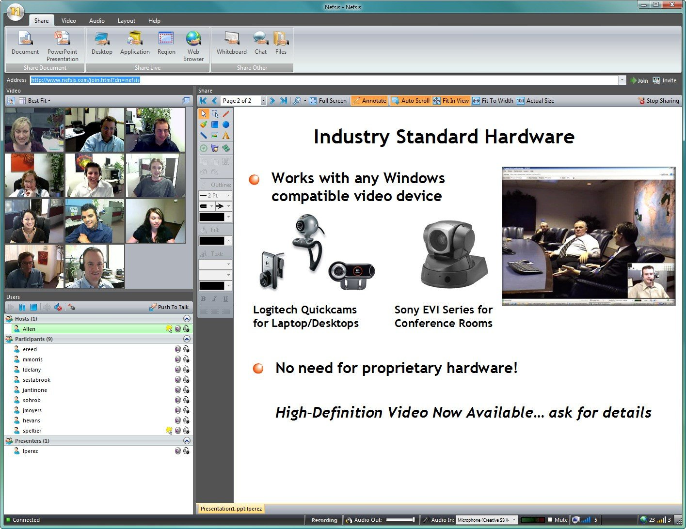 Option nefsis video conferencing it documentation pcc spaces.