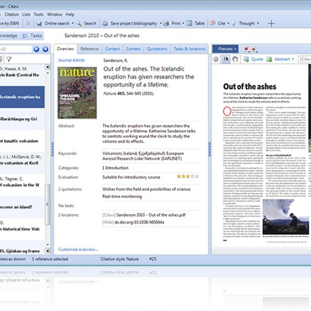Simple Navigation on the left, the editing pane in the middle, preview on the right (for PDF and text documents, images, Web pages, etc.).   All You Need You can add ratings, quotations, comments, thoughts, tasks, locations, and links to other references and files. Citavi is your complete toolbox for academic writing.