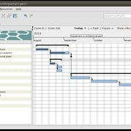 GanttProject application window showing Gantt chart of the sample project