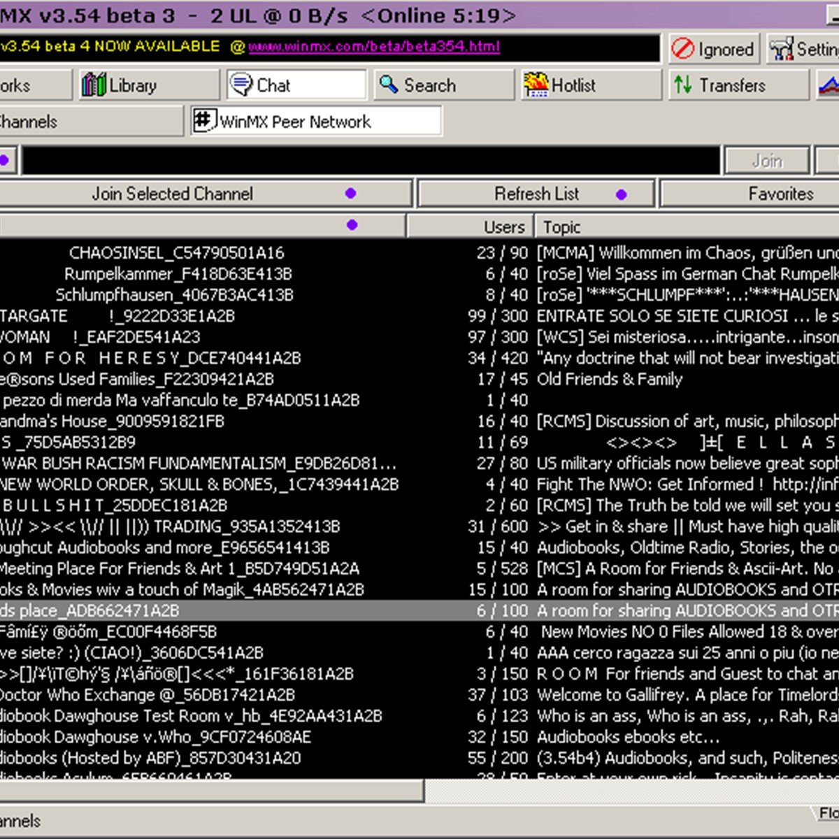 Weethet internet getting mp3s, movies and program using winmx.