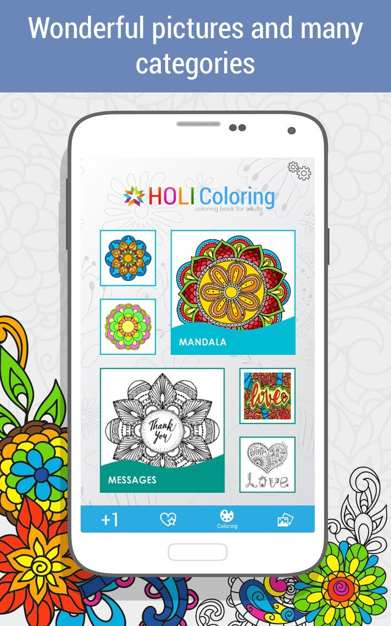 Color therapy anti stress coloring book app - Coloring App Google Play Coloring Book Flowers