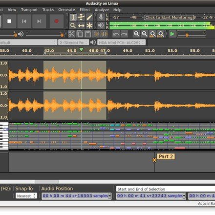 Audacity 2.2.0 running on Linux, audio track and MIDI track playing