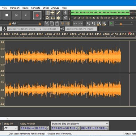 Recording with Audacity 2.2.0 in Dark theme on Windows 10