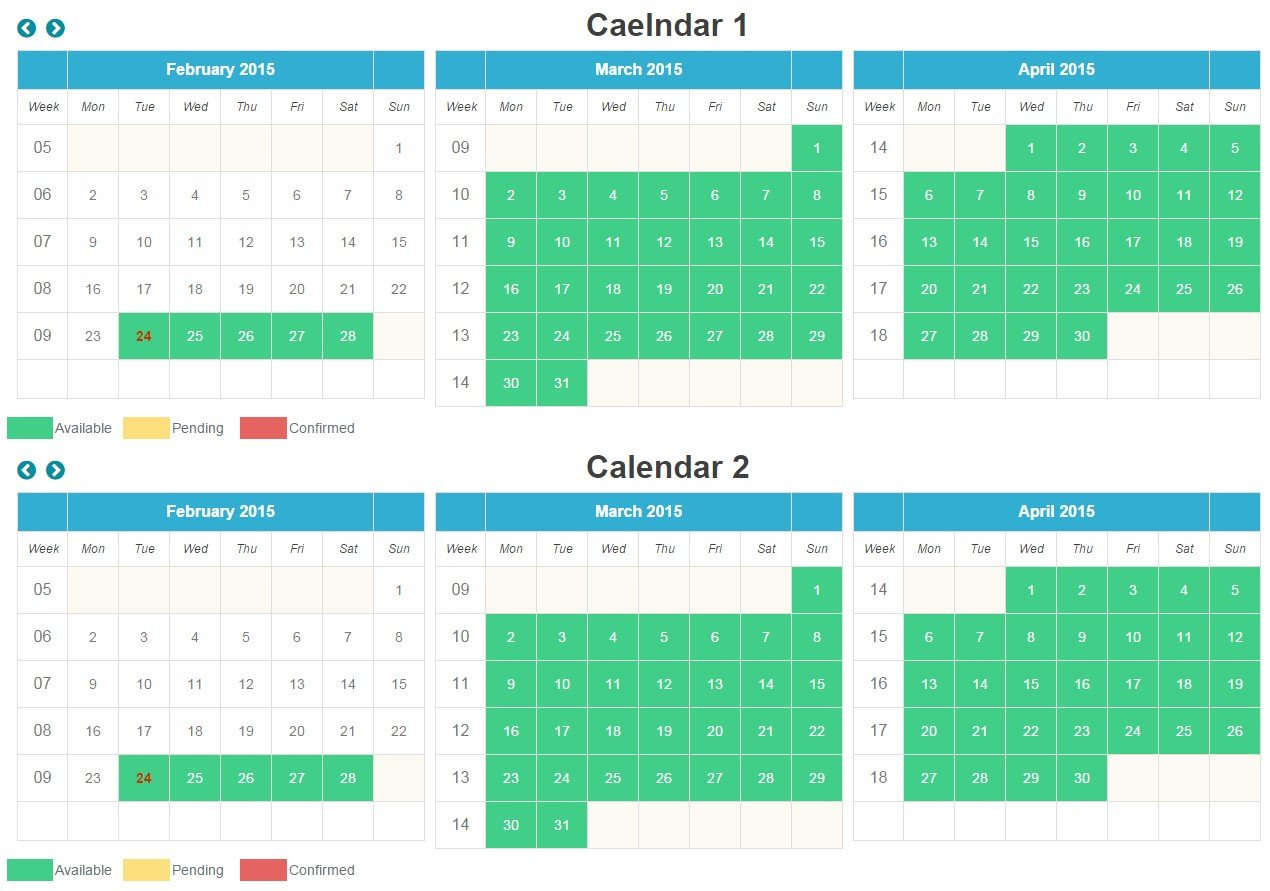 Free php booking calendar download