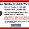 SMART Warning: Warning about a likely hard drive failure because of decreased critical S.M.A.R.T. attributes.