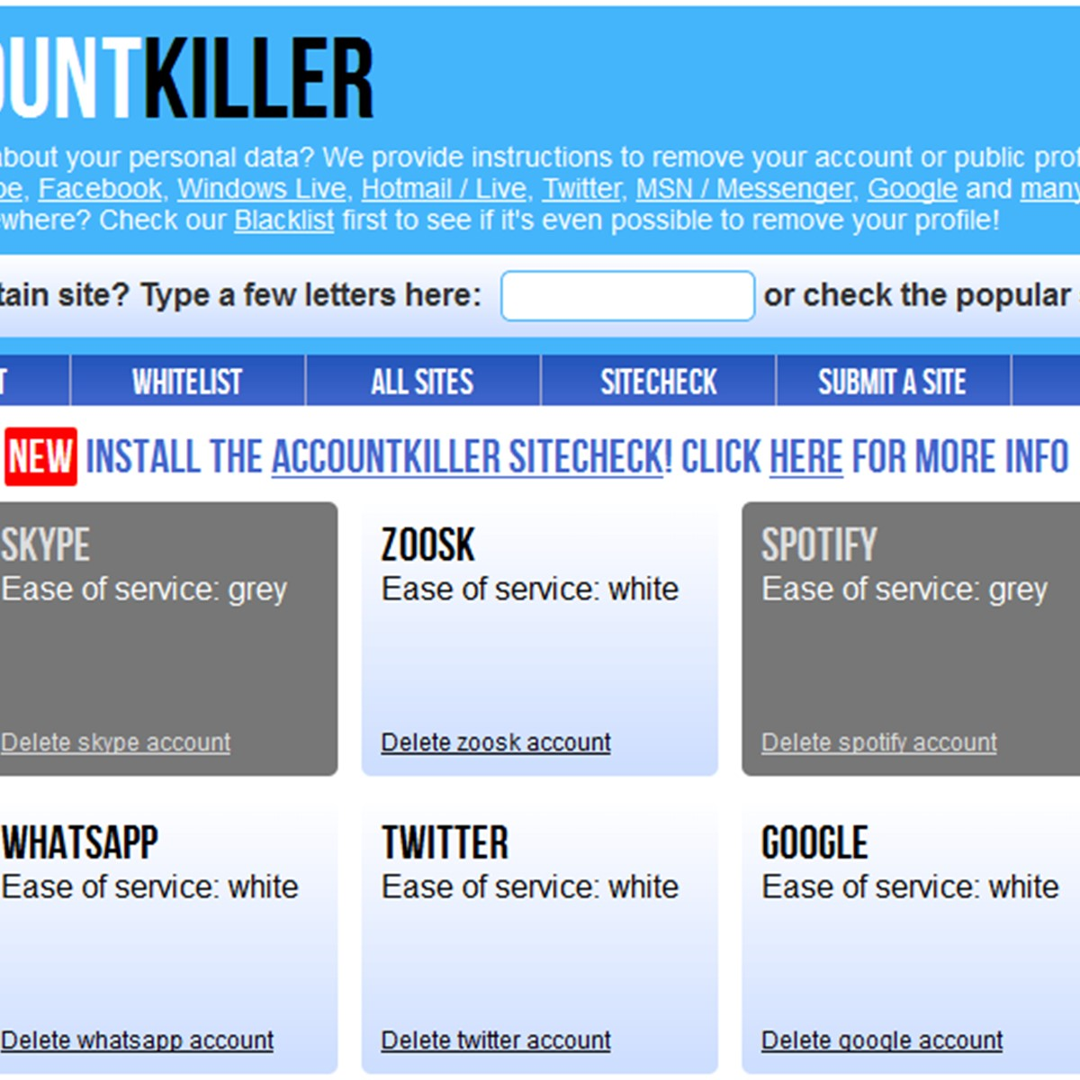 AccountKiller Alternatives and Similar Websites and Apps