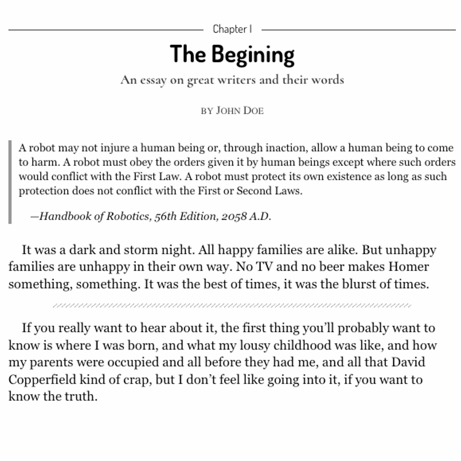 beginn eines essays