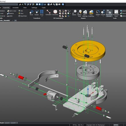 BricsCAD Mechanical - exploded view with trailing lines