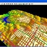Global Mapper displaying 3D ground terrain and GIS shapefile data