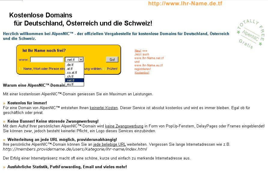 de.tf - Start | ^AlpenNIC.com - Ihre Domain Webspace Email