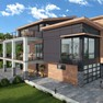 Multi storey modern home in 3D icon
