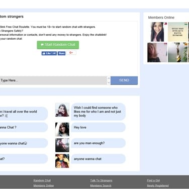 Online web chat with strangers