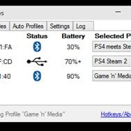 Overview connections for multiple gamepads, USB or Bluetooth, with battery levels and settings profiles