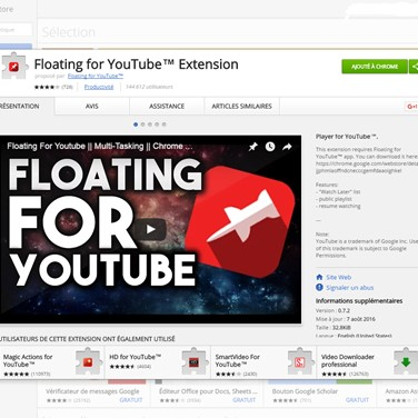 Floating for YouTube™ Extension Alternatives and Similar