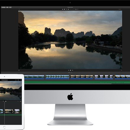 Whether you're using a Mac or an iOS device, it's never been easier to make it in the movies. Just choose your clips, then add titles, music, and effects. iMovie even supports 4K video for stunning cinema-quality films. And that, ladies and gentlemen, is a wrap.