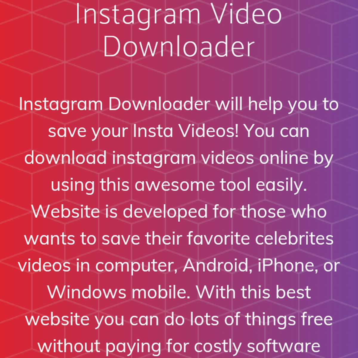 Instagram Video Downloader Alternatives and Similar Websites