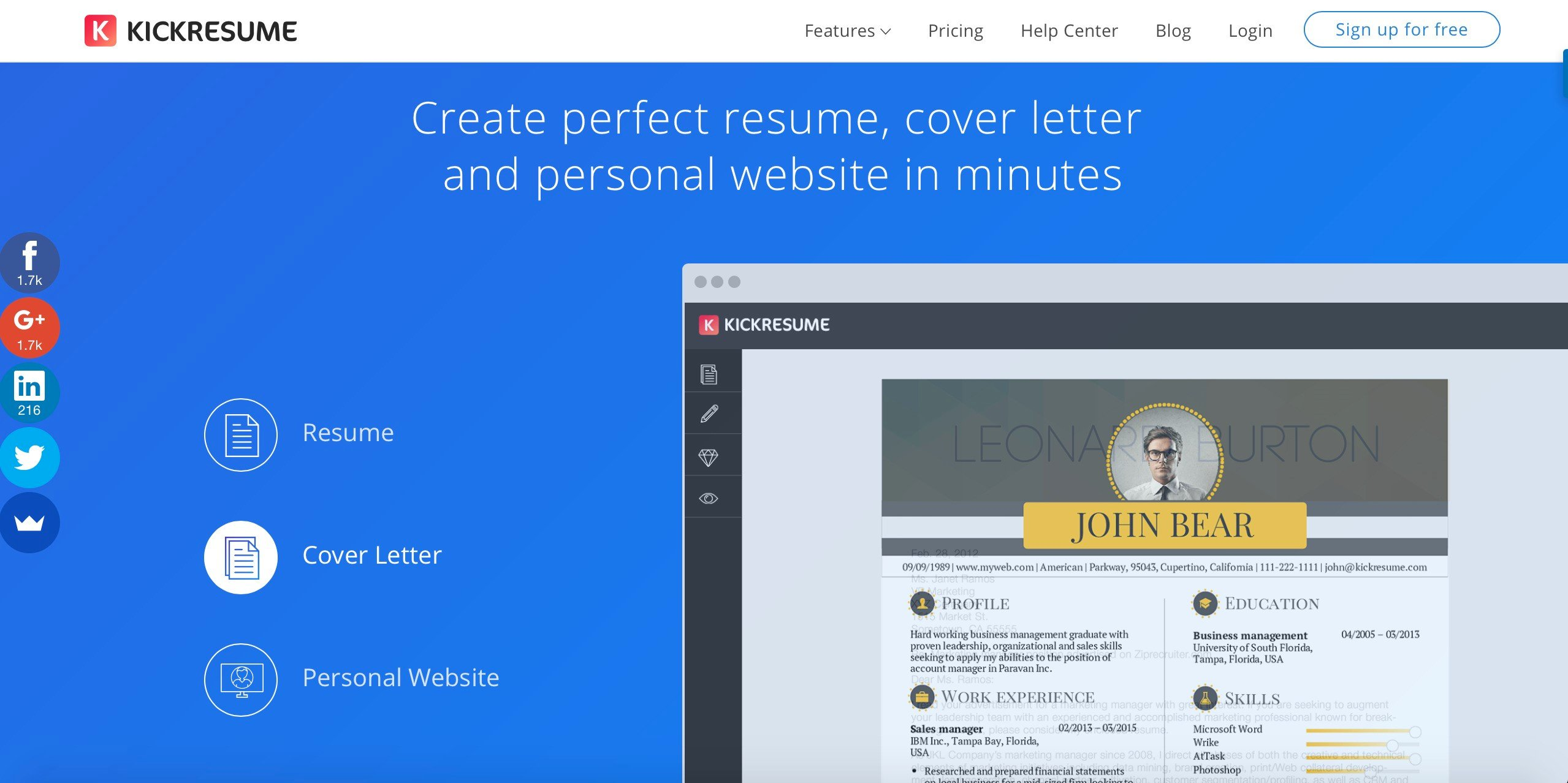 create perfect resume cover letter or personal website in minutes and land your dream job