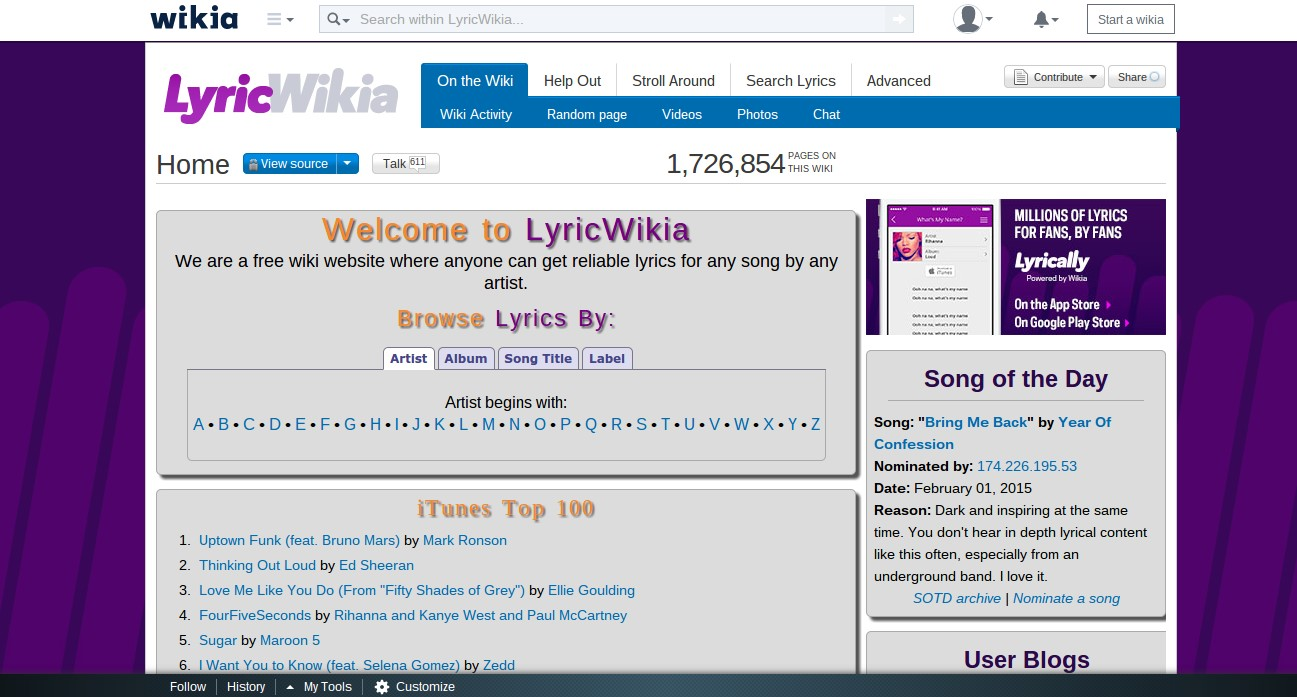 LyricWikia Alternatives and Similar Websites and Apps