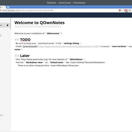 ownCloud Notes web-interface