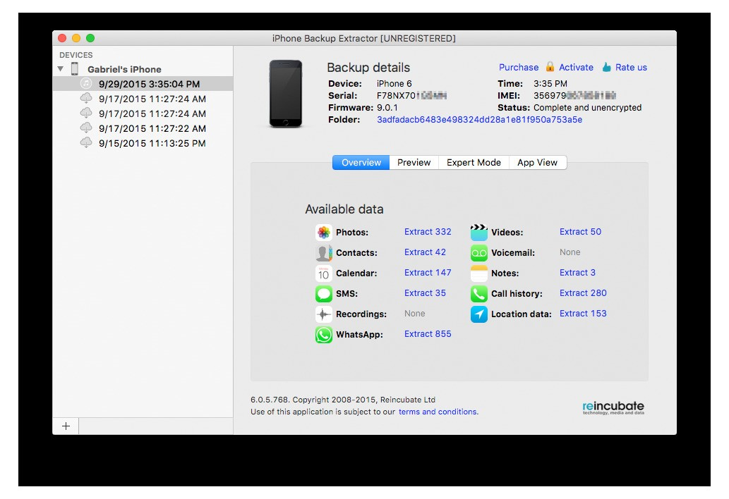 Reincubate IPhone Backup Extractor Alternatives And