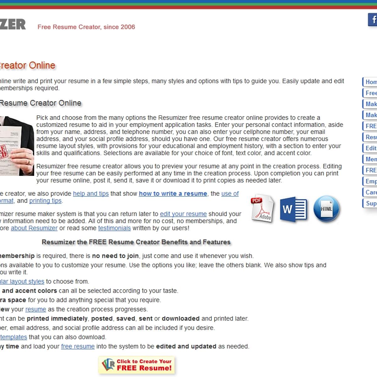Resumizer Free Resume Creator Alternatives And Similar Websites And