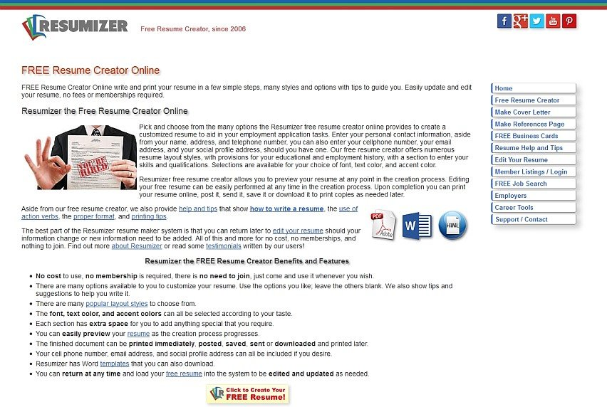 resumizer free resume creator alternatives and similar websites and