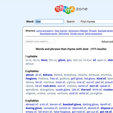 Rhyme Zone Alternatives and Similar Websites and Apps
