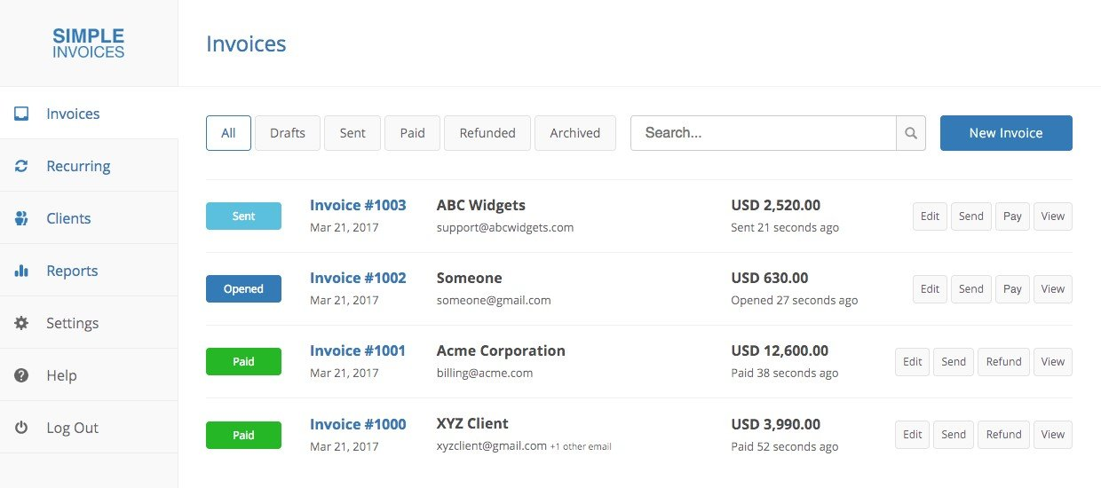 simple invoices alternatives and similar websites and apps