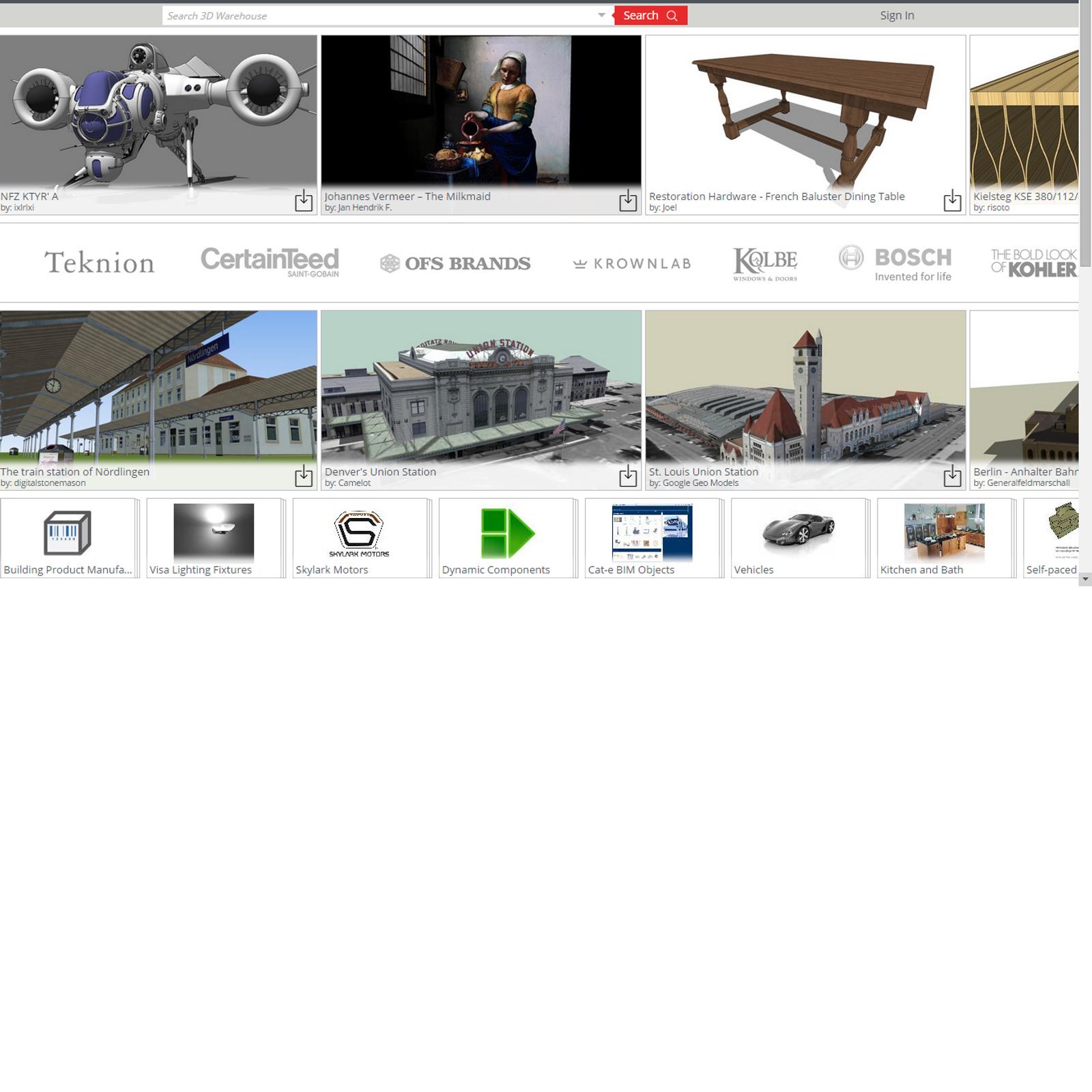 SketchUp 3D Warehouse Alternatives and Similar Websites and