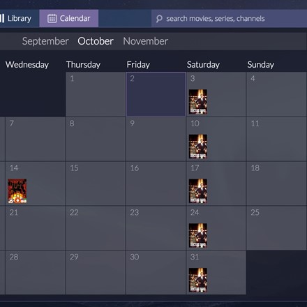 Calendar - showing release dates of episodes