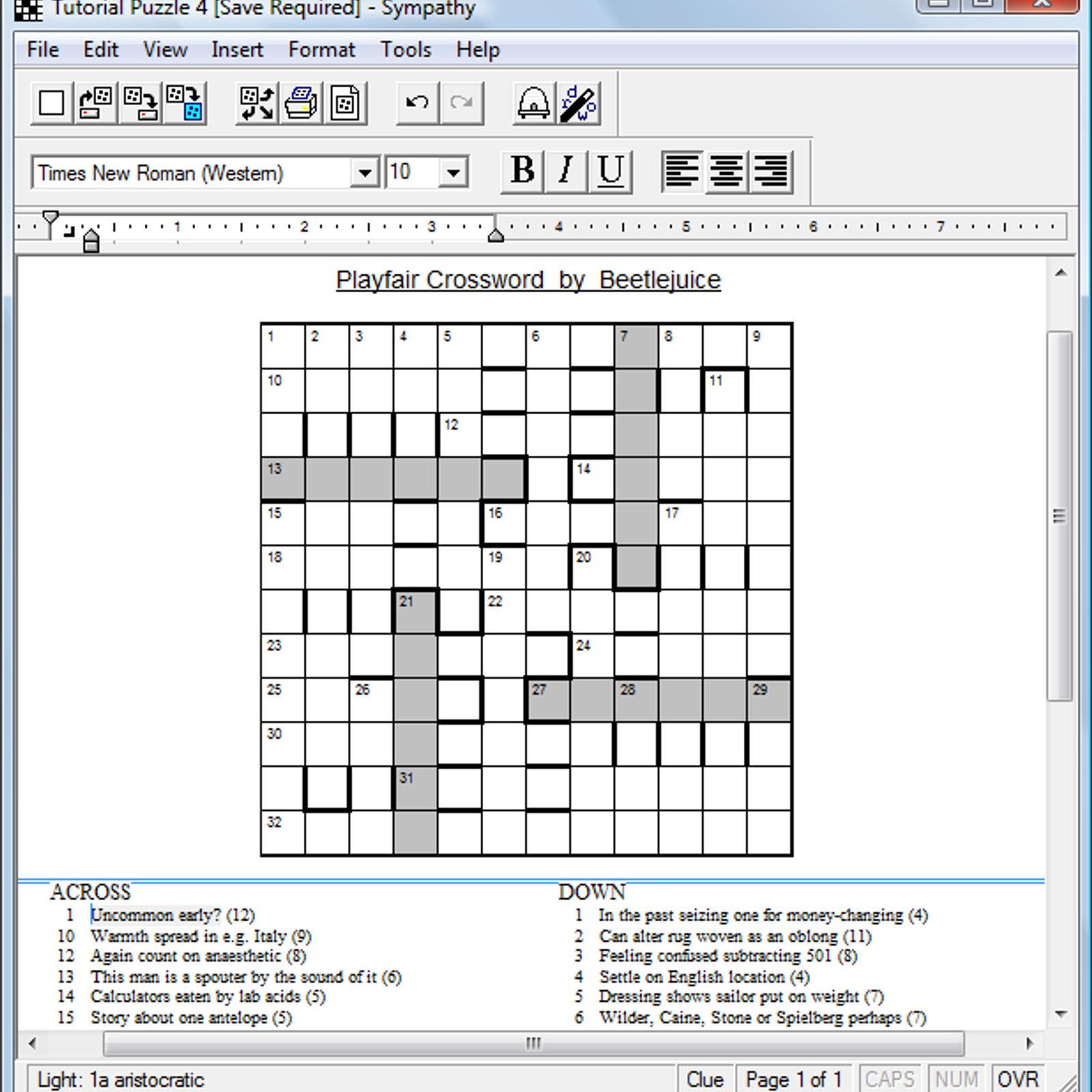 Sympathy Crossword Construction