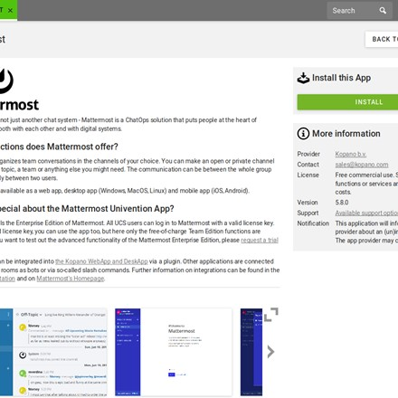 Univention App Center - Application detaile page