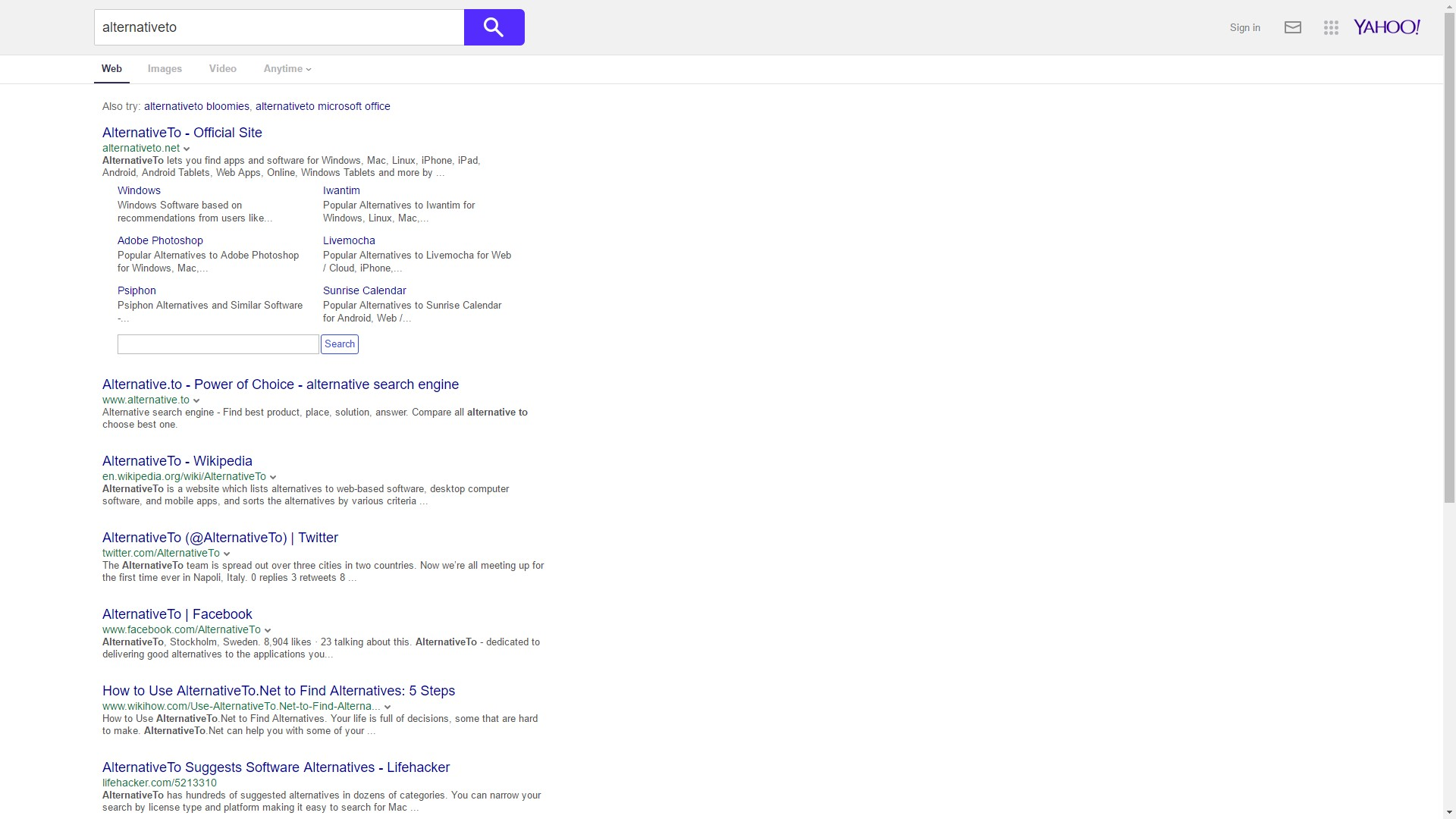 Yahoo! Search Alternatives and Similar Apps and Websites
